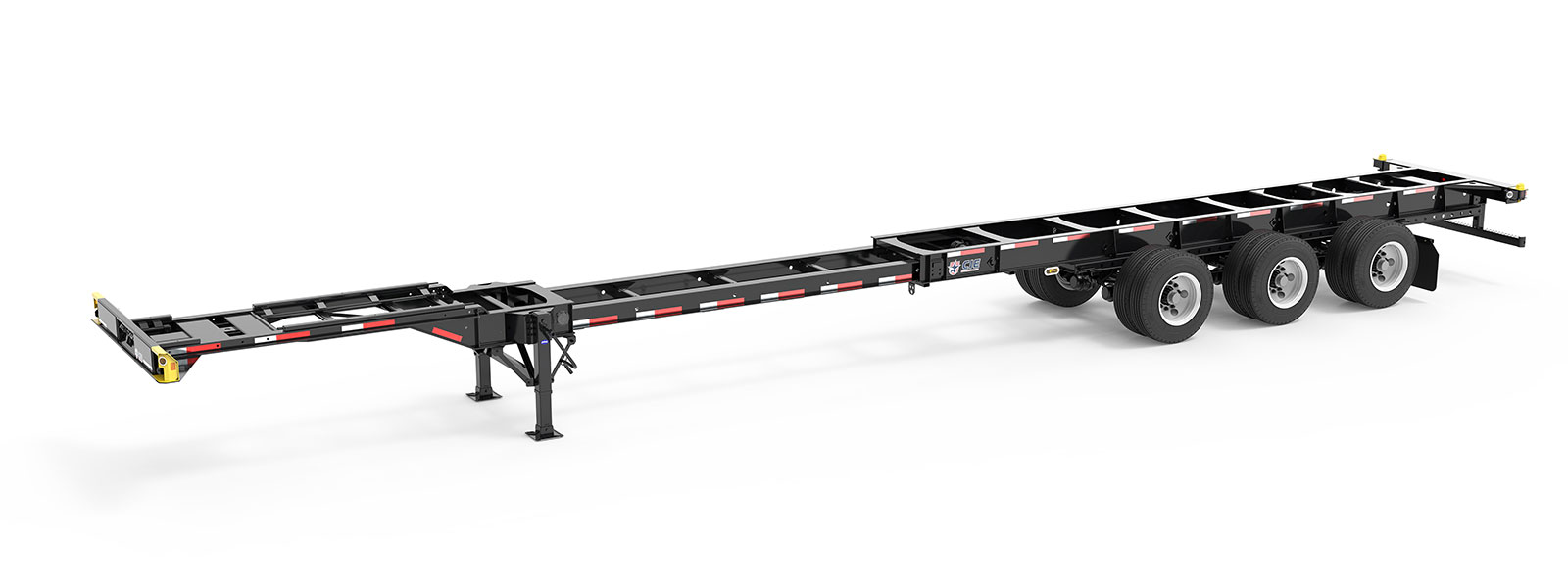 40-53' Extendable Tridem Container Chassis Angle View Final