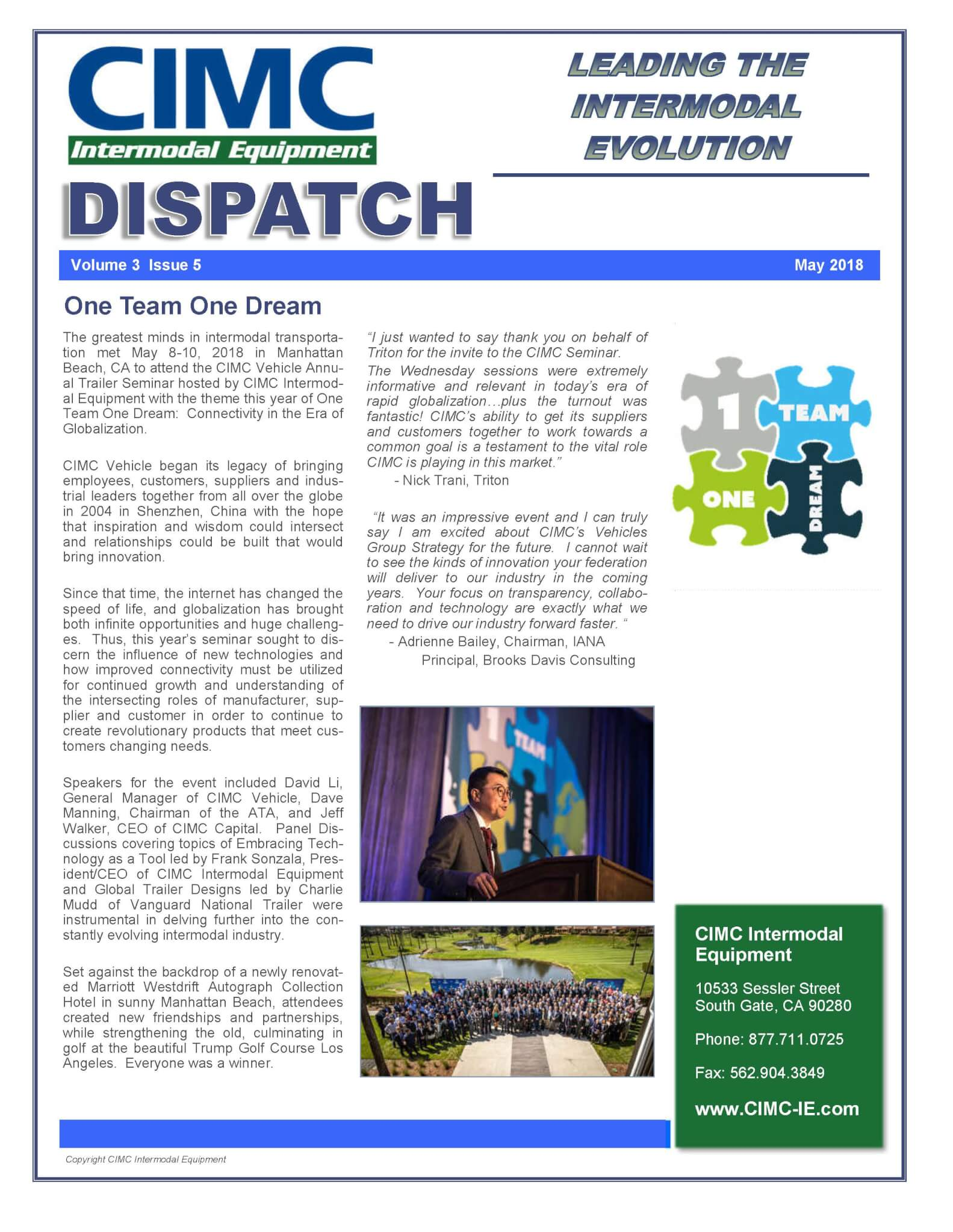 CIMC Dispatch May 2018