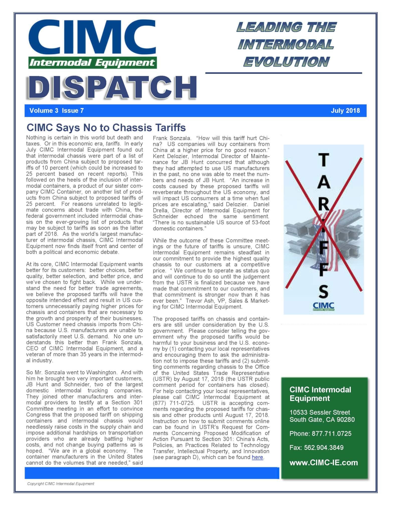 CIMC Dispatch July 2018