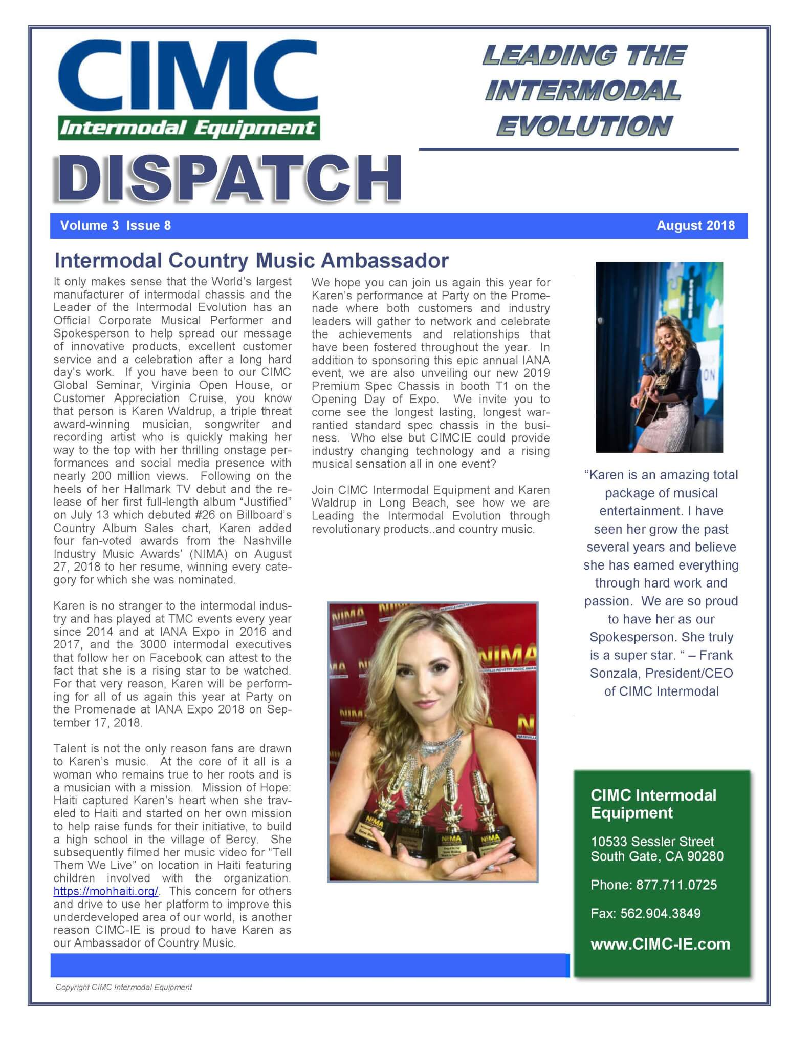 CIMC Dispatch August 2018