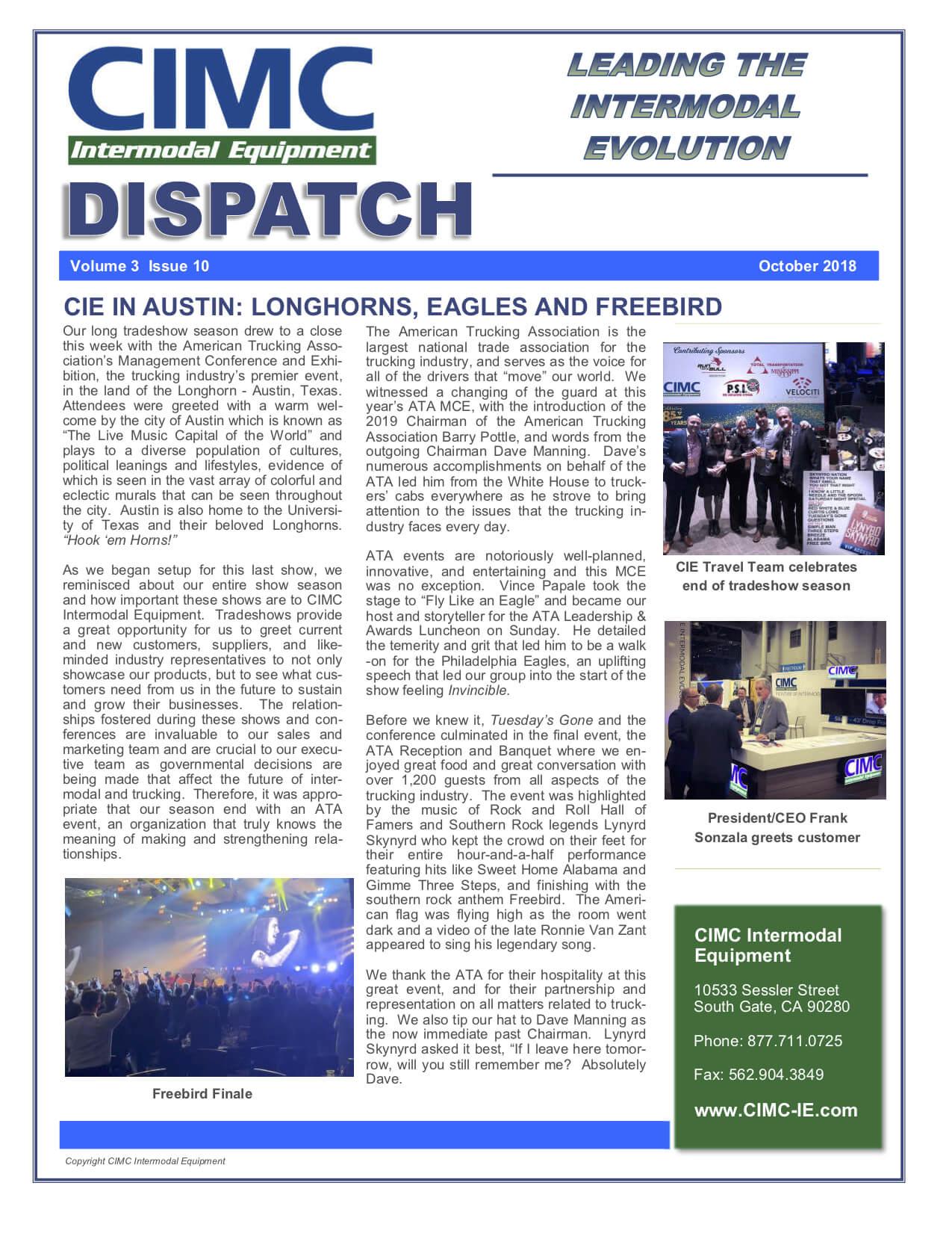 CIMC Dispatch October 2018