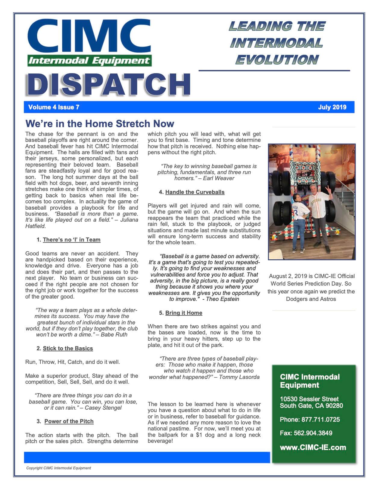 CIMC Dispatch July 2019