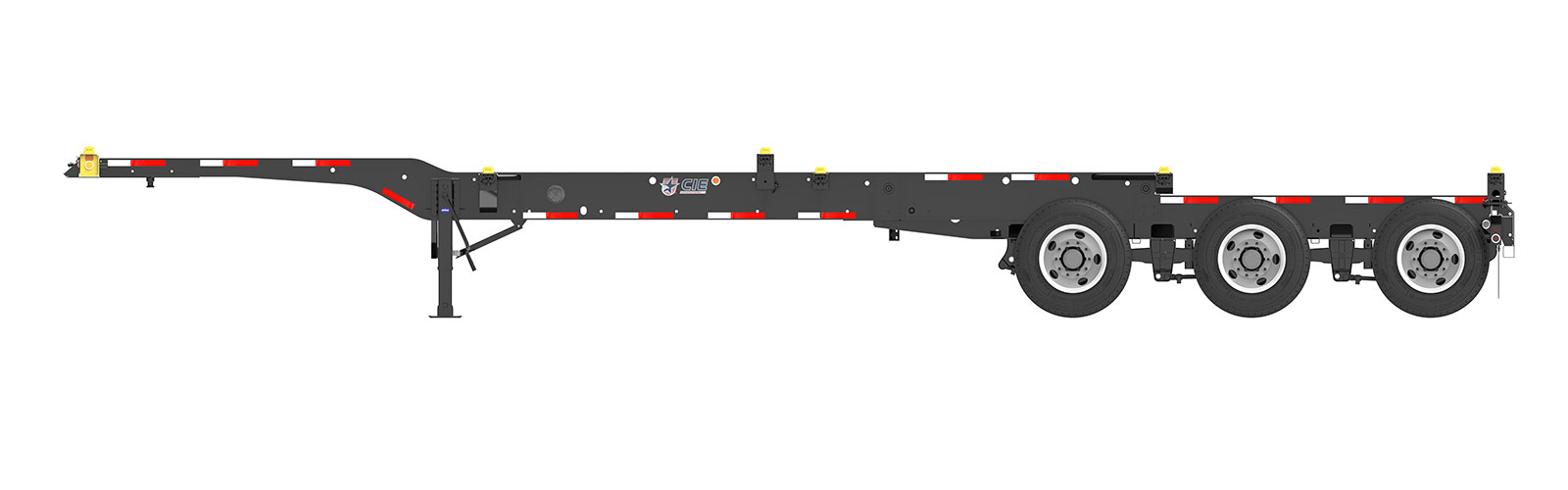 20-40' Combo Tridem Container Chassis Orthographic Side View Final