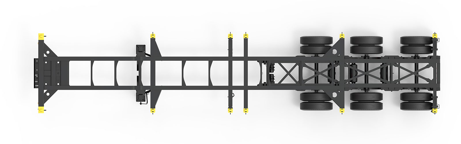 20-40' Combo Tridem Container Chassis Orthographic Top View Final