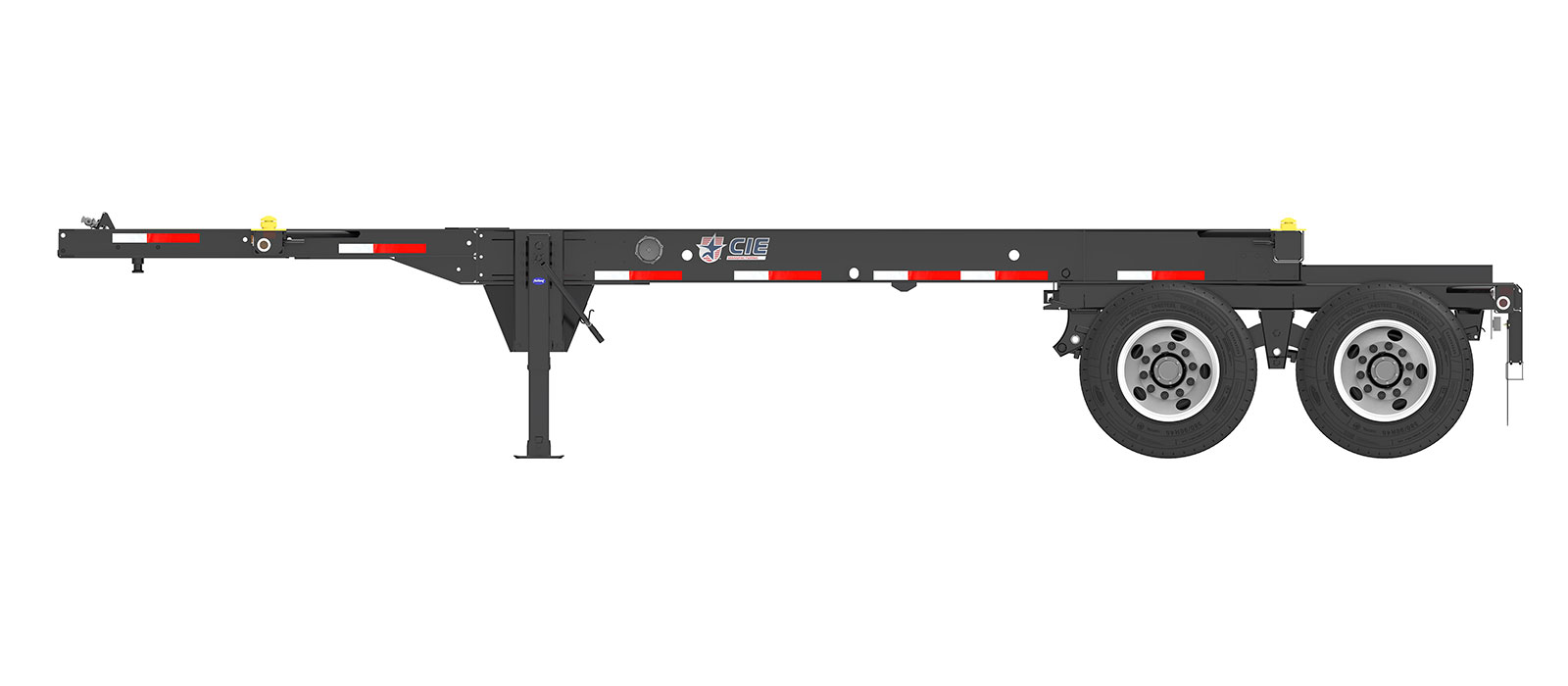 23.5' Tandem Slider Container Chassis Orthographic Side View Final