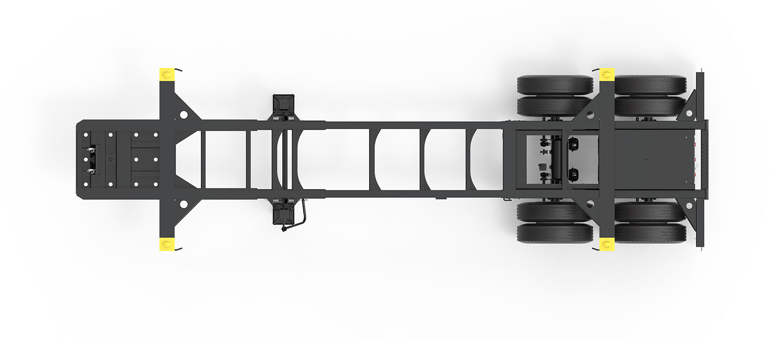 23.5' Tandem Slider Container Chassis Orthographic Top View Final