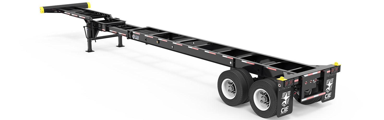 40-45' Extendable Tandem Container Chassis Back Angle View Final