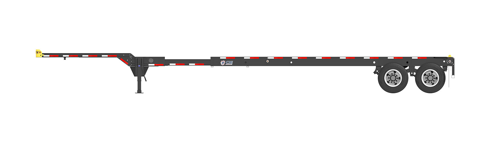 40-45' Extendable Tandem Container Chassis Orthographic Side View Final