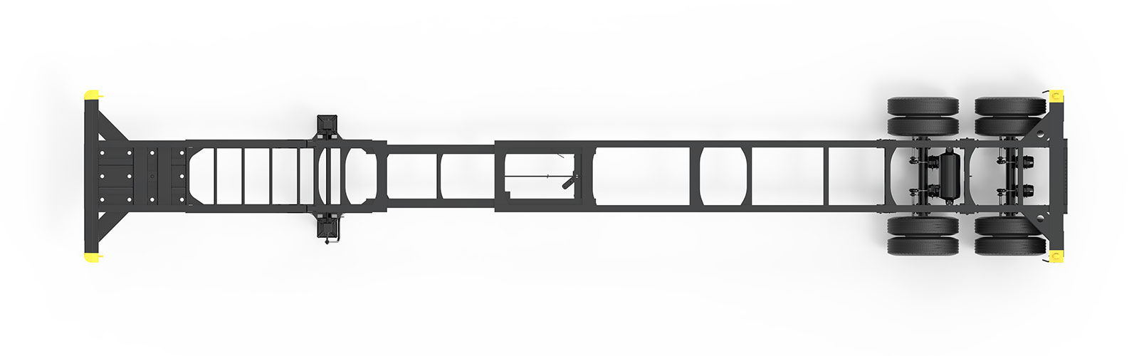 40-45' Extendable Tandem Container Chassis Orthographic Top View Final