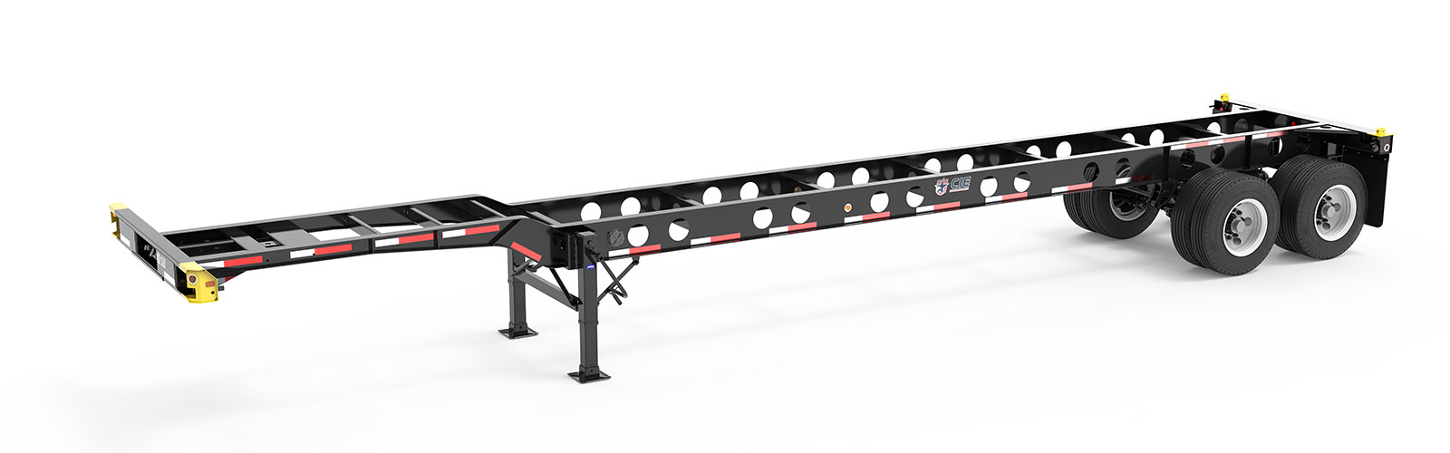 40' Gooseneck Tandem Lightweight Container Chassis Angle View Final