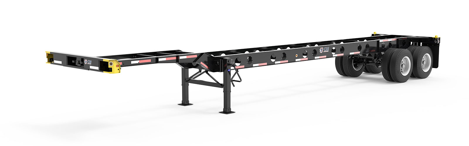 40' Gooseneck Tandem Lightweight Container Chassis Literature Angle View Final