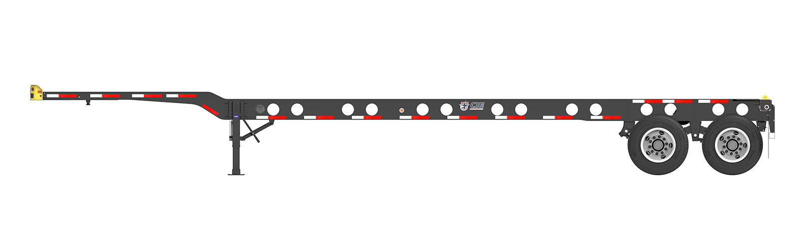 40' Gooseneck Tandem Lightweight Container Chassis Orthographic Side View Final