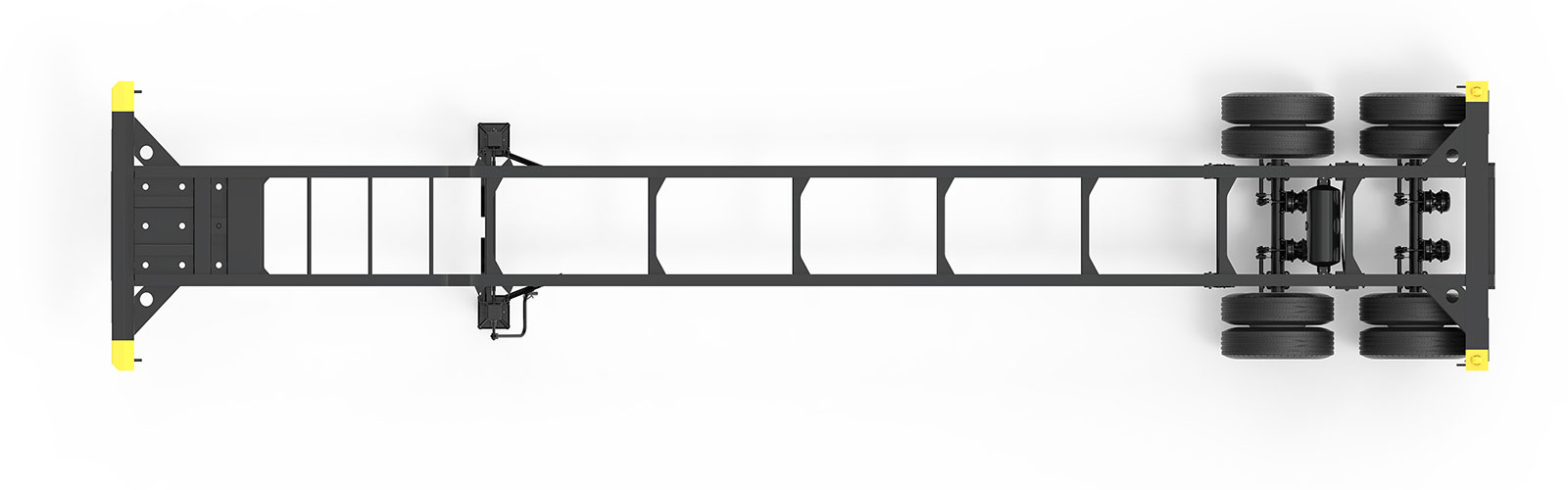 40' Gooseneck Tandem Lightweight Container Chassis Orthographic Top View Final