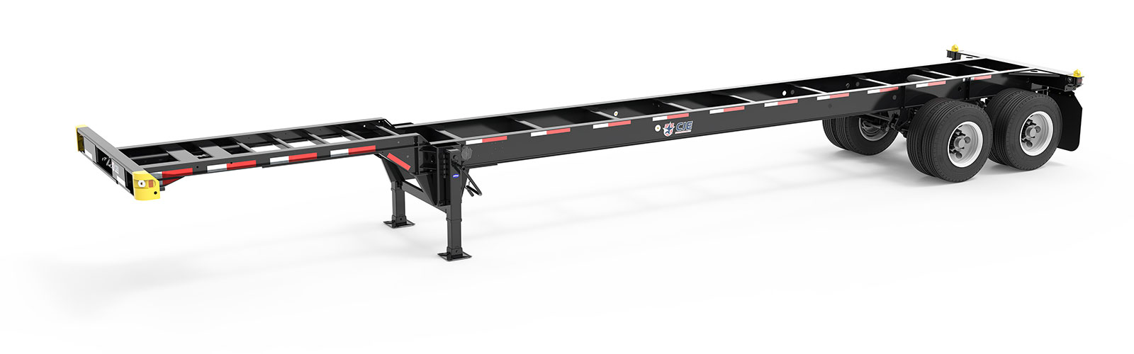 40' Gooseneck Tandem Container Chassis Angle View Final