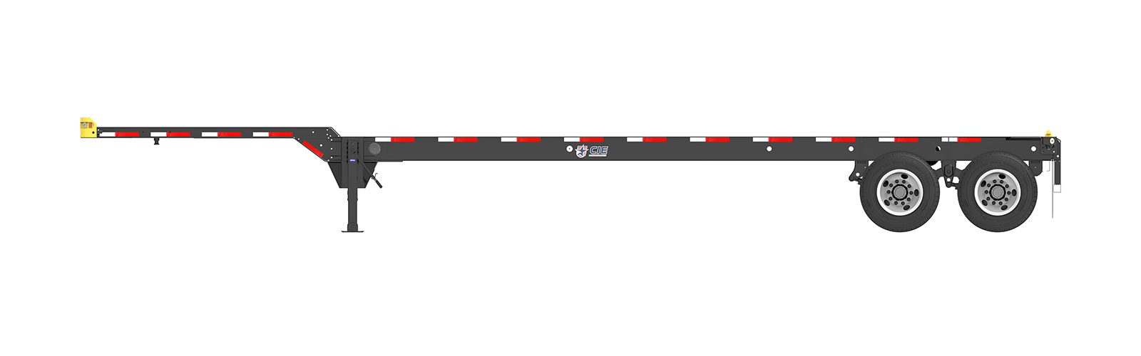 40' Gooseneck Tandem Container Chassis Orthographic Side View Final