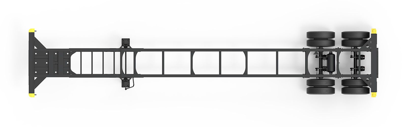 40' Gooseneck Tandem Container Chassis Orthographic Top View Final
