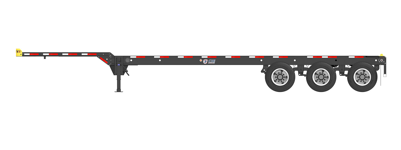 40' Gooseneck Tridem Container Chassis Orthographic Side View Final