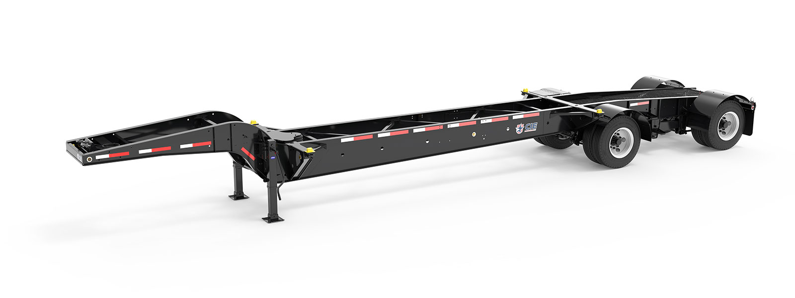 43' Drop Frame Tandem Tank Container Chassis Angle View Final