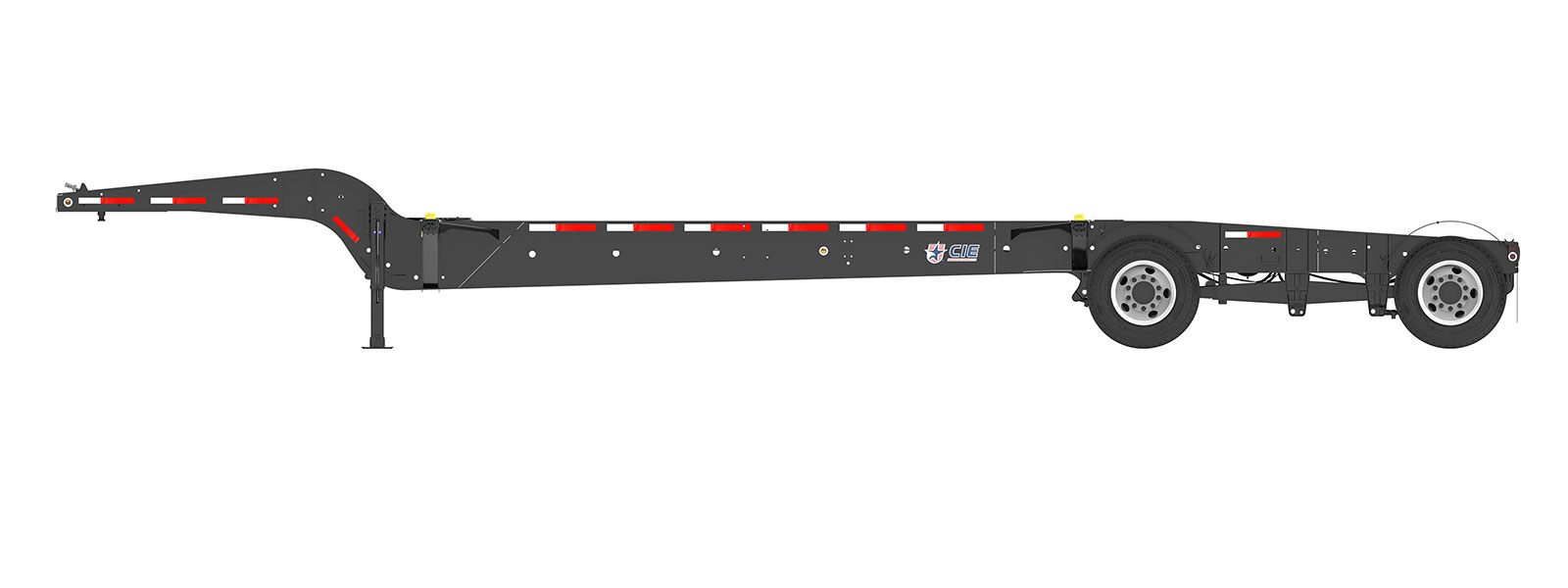 43' Drop Frame Tandem Tank Container Chassis Orthographic Side View Final