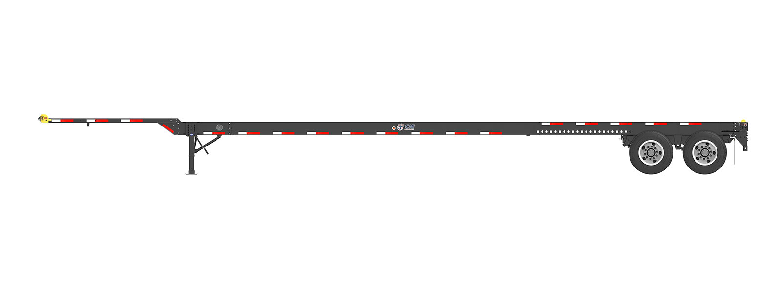 53' Gooseneck Tandem Container Chassis Orthographic Side View Final