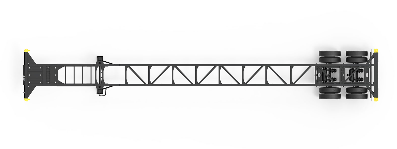53' Gooseneck Tandem Container Chassis Orthographic Top View Final